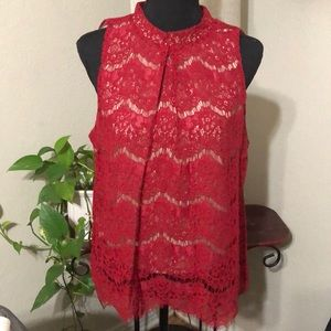 Love Fire new, mock neck red lace sleeveless